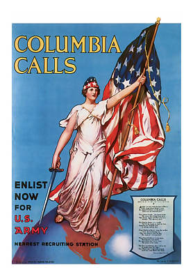 Columbia Calls   Vintage Ww1 Art Poster by Presented By American Classic Art