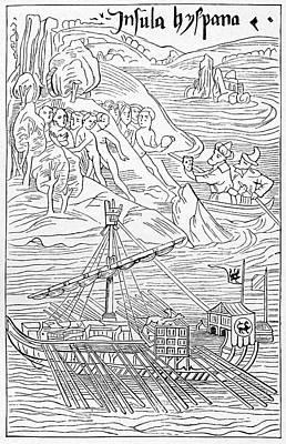 Columbus Arriving At Guanahani Poster