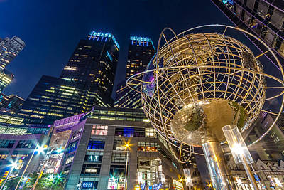 Columbus Circle Globe And Time Warner Towers At Night Poster