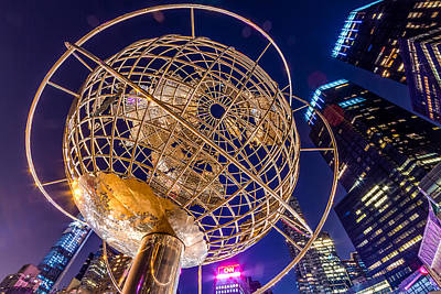 Columbus Circle Globe At Night Poster