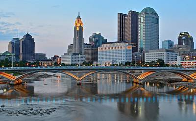 Columbus Ohio As The Lights Come On Poster by Frozen in Time Fine Art Photography