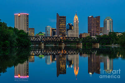 Columbus Ohio Night Skyline Photo Poster