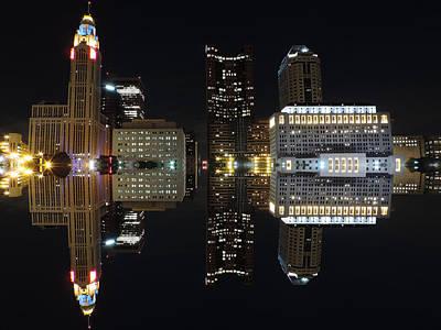 Columbus Reflection At Night Poster