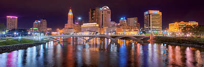 Columbus Skyline At Night Color Panorama Ohio Poster by Jon Holiday