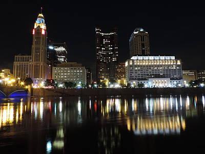 Columbus Skyline At Night Poster