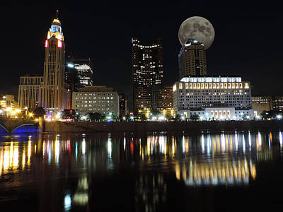 Columbus With The Moon Poster