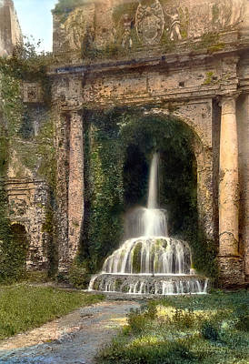 Columns And Waterfall Poster