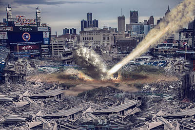 Poster featuring the photograph Comerica Park Asteroid by Nicholas  Grunas