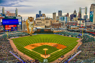 Comerica Park Detroit Mi With The Tigers Poster by Nicholas  Grunas