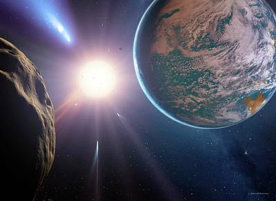 Comet Approaching Earth-like Planet Poster