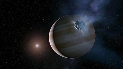 Comet Approaching Jupiter Poster