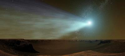 Comet Siding Spring From Mars Poster by Nasa/goddard Space Flight Center Conceptual Image Lab/svs