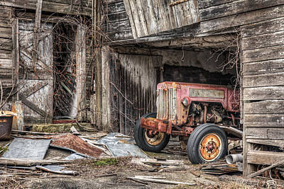 Poster featuring the photograph Comfortable Chaos - Old Tractor At Rest - Agricultural Machinary - Old Barn by Gary Heller