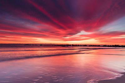 Coming Soon Sunrise At Hampton Beach Poster by Jeff Sinon