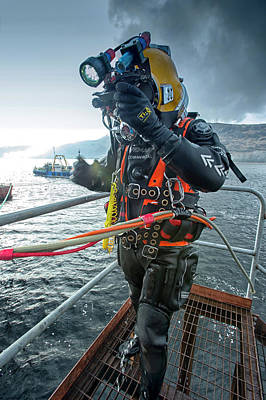 Commercial Diver In Diving Suit Poster