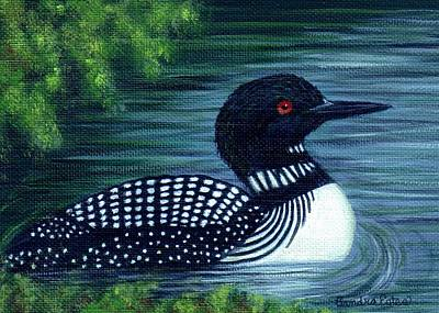 Poster featuring the painting Common Loon by Sandra Estes
