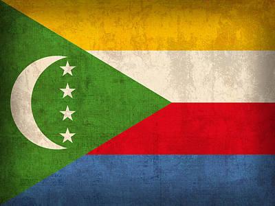 Comoros Flag Vintage Distressed Finish Poster by Design Turnpike