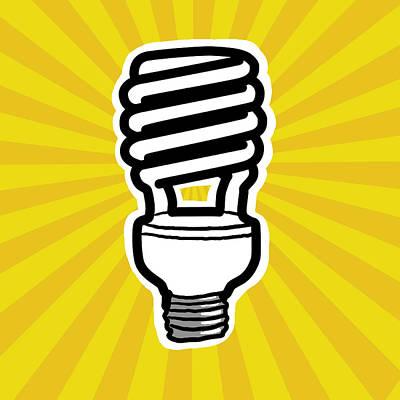 Compact Fluorescent Lightbulb Poster by Yuriko Zakimi