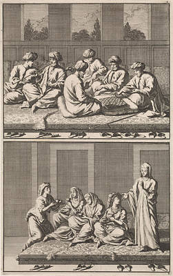 Company Of Six Smoking And Chess-playing Turks Poster by Jan Luyken