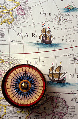 Compass And Old Map With Ships Poster by Garry Gay