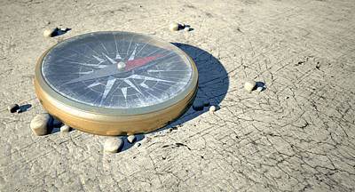 Compass In The Desert Poster by Allan Swart
