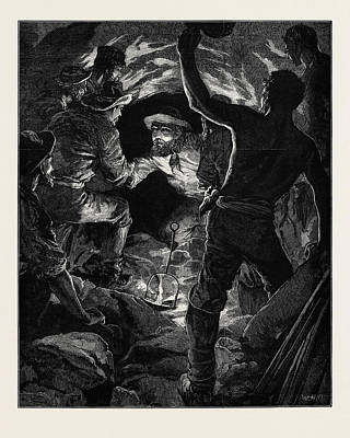 Completion Of The St. Gothard Tunnel Meeting Of Workmen Poster by English School