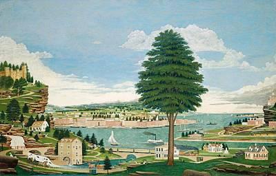 Composite Harbor Scene With Castle Poster