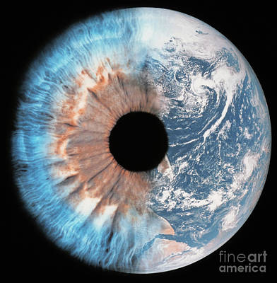 Composite Of Earth And Eye Poster by Spl