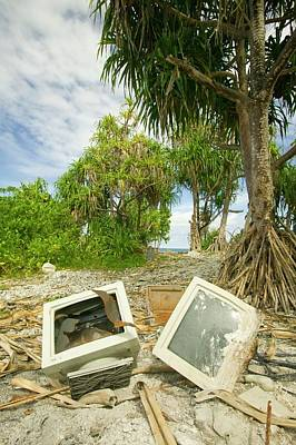 Computer Parts Discarded On Tuvalu Poster
