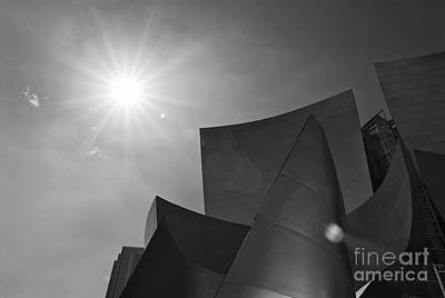 Concert Flare - Walt Disney Concert Hall From Downtown Los Angeles In Black And White Poster by Jamie Pham