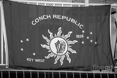 Conch Republic Flag Key West - Black And White Poster