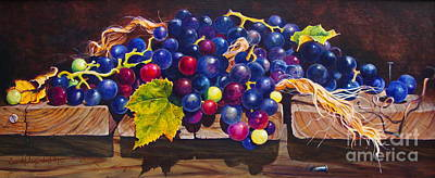 Concord Grapes On A Step Poster by Sarah Luginbill