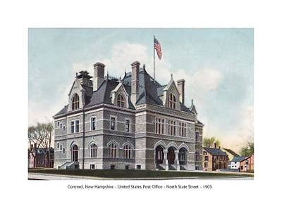 Concord New Hampshire - United States Post Office - North State Street - 1905 Poster