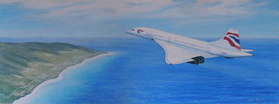 Concorde Over Barbados Poster by Elaine Jones