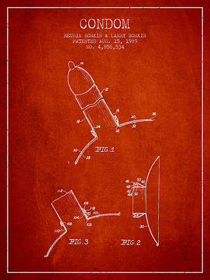 Condom Patent From 1989 - Red Poster