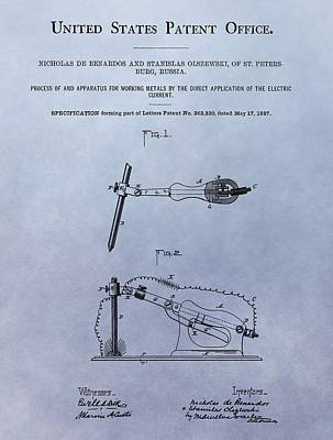 Conductive Metal Electric Current Patent Poster