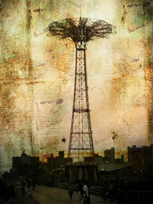Coney Island Eiffel Tower Poster by Jon Woodhams