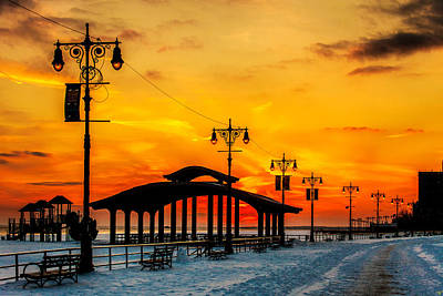 Coney Island Winter Sunset Poster