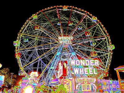 Coney Island's Famous Amusement Park And Wonder Wheel Poster