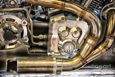 Confederate Motorcycle B120 Wraith Engine And Exhaust Pipe Poster by Ian Monk