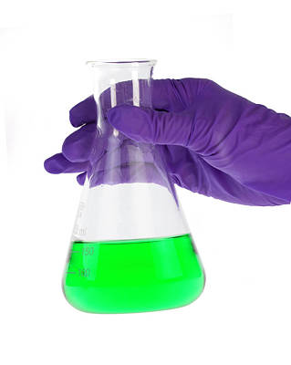 Conical Flask In Latex-gloved Hand Poster
