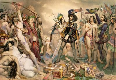 Conquest Of Mexico Hernando Cortes Destroying His Fleet At Vera Cruz Poster by Nicholas Eustache Maurin