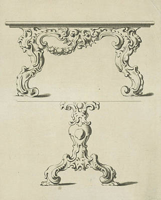 Console Table And Table Leg In Auricular Style Poster by Pieter Hendricksz. Schut And Gerbrand Van Den Eeckhout And Nicolaes Visscher I