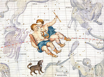 Constellation Of Gemini With Canis Minor Poster by Sir James Thornhill