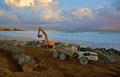 Constructing Sea Defenses,bunmahon Poster by Panoramic Images