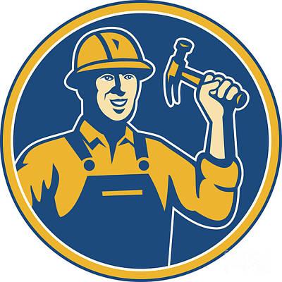 Construction Worker Carpenter Tradesman With Hammer Poster by Aloysius Patrimonio