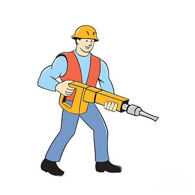 Construction Worker Holding Jackhammer Cartoon Poster by Aloysius Patrimonio
