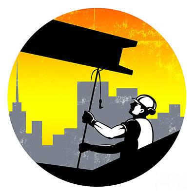 Construction Worker I-beam Girder Retro Poster by Aloysius Patrimonio