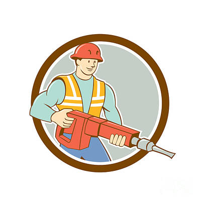 Construction Worker Jackhammer Circle Cartoon Poster by Aloysius Patrimonio
