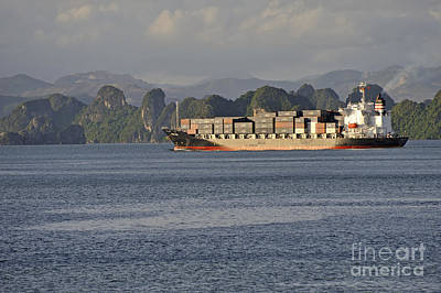 Container Ship In Halong Bay Poster by Sami Sarkis